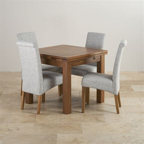 Rustic Solid Oak 3ft Dining Table With 4 Grey Fabric Chairs Rustic Solid Oak Dining Table