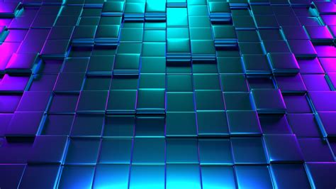 wallpaper cubes  neon glow blue pink  abstract