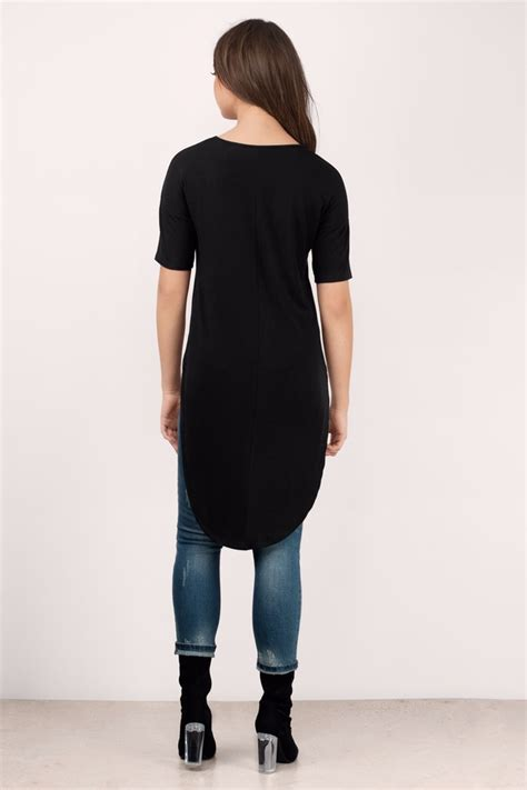 Tshirt Pria Low trendy black shirt high low shirt black