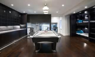 Modern Basement Bunk Room With Sleek Laminate Flooring