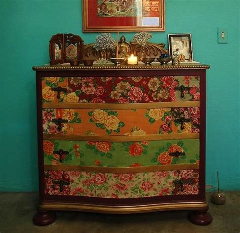 Can You Decoupage With Wallpaper - dishfunctional designs upcycled dressers painted