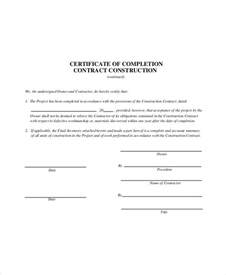 certificate of completion template construction construction contract template 6 free word pdf