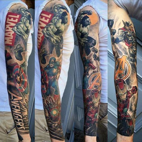 marvel sleeve tattoo designs guys marvel sleeve tattoos tattoos 3
