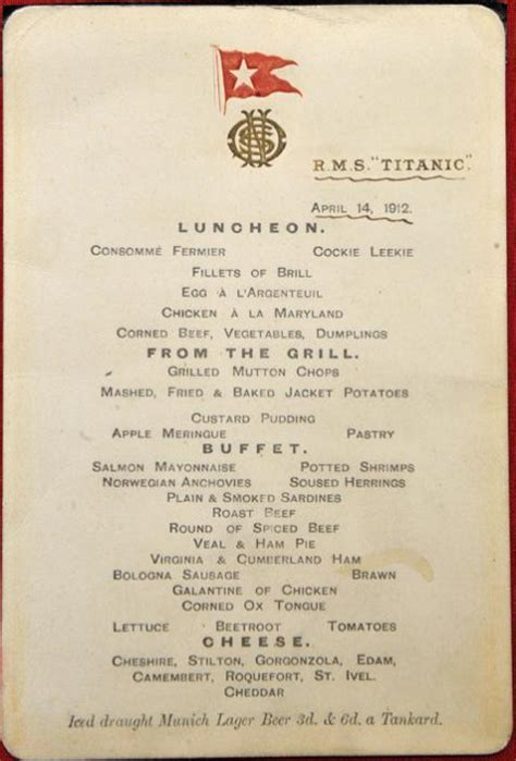 titanic third class menu the titanic s menus and what they can tell us historians