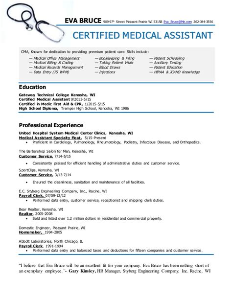 certified assistant resume bruce
