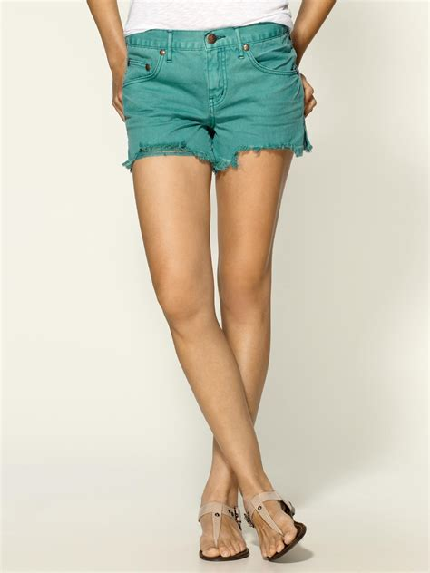 colored denim shorts free colored denim cut shorts in green teal