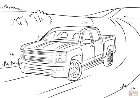 coloring pages of chevy truck chevrolet silverado coloring page free printable