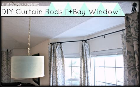 cheap bay window curtain rods from gardners 2 bergers damask stenciled curtain tutorial