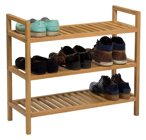 Shoe Rack Oak by 3 Tier Stackable Solid Oak Shoe Rack Store Your Shoes Away Hallowood