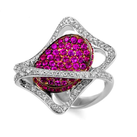 rings italian collection 18k white gold ruby