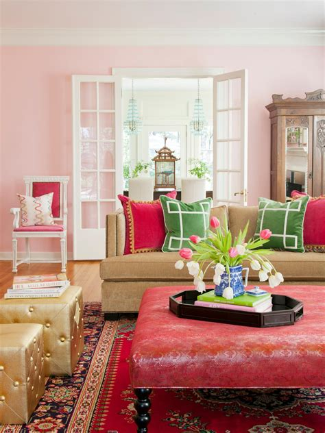 Pink Living Room Ideas - color theory and living room design hgtv