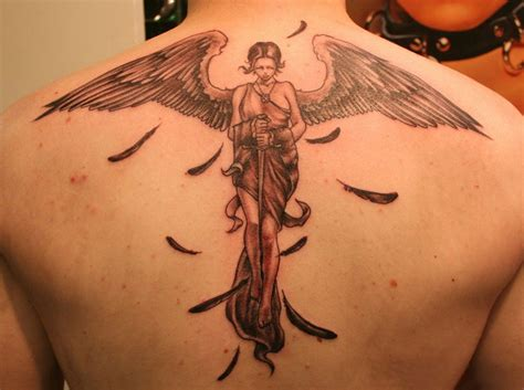 angel tattoo at the back mens tattoos 187 tattoos for men
