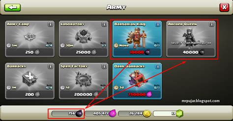 Harga Upgrade Archer beli barbarian king dan archer th level 7 dengan