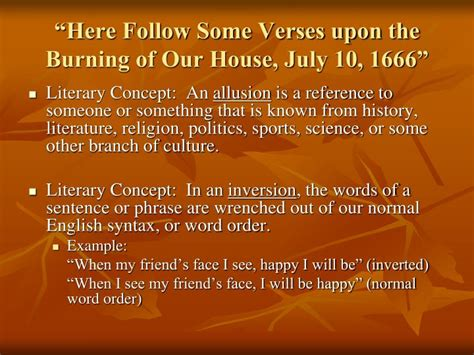 upon the burning of our house ppt literary movement puritan colonial literature 1620 1750 powerpoint presentation