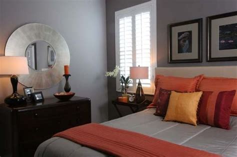grey and orange bedroom warm and inviting bedroom in grey with orange accents