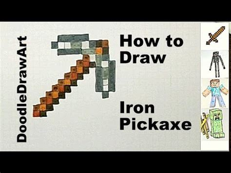 How To Make A Minecraft Pickaxe Out Of Paper - drawing how to draw an iron pickaxe step by step