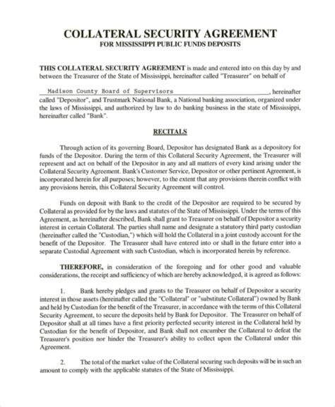 collateral loan agreement template 8 collateral agreement templates word pdf free