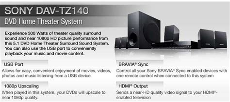 Sony Home Theater System Dav Tz140 sony dav tz140 dvd home theater system 5 1 channel 300