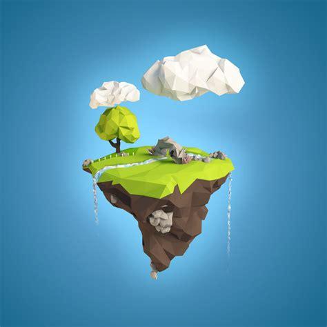 3d illustration his car floating floating island 3d model