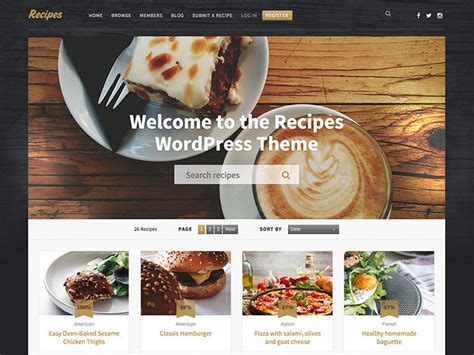 wordpress themes free food blog 60 best wordpress food blog themes 2018