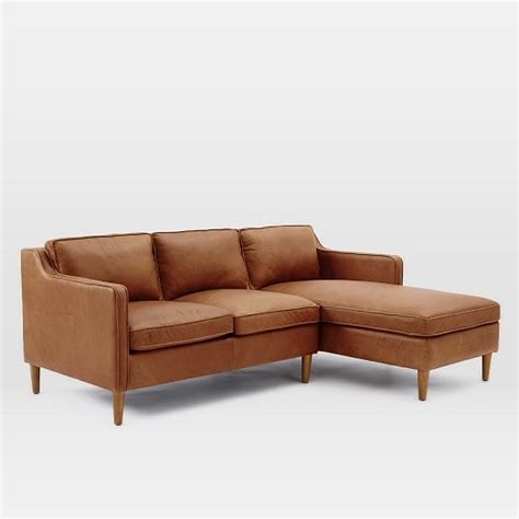 2 piece chaise sectional hamilton 2 piece leather chaise sectional west elm