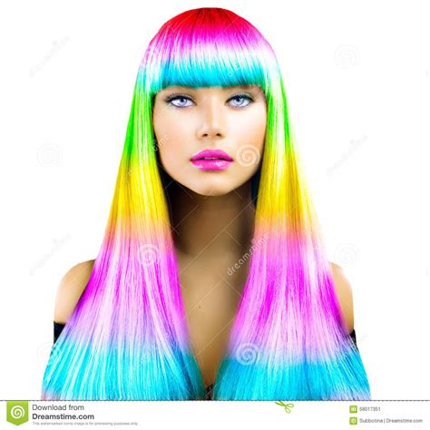 with colorful hair model with colorful dyed hair stock photo