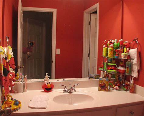 elmo bathroom elmo red bathroom our guest bathroom when i told the