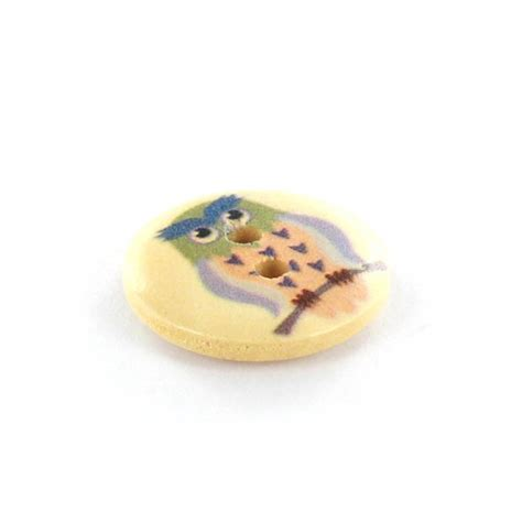 Owl Wooden Button owl wooden button rounded shaped simba multicolored