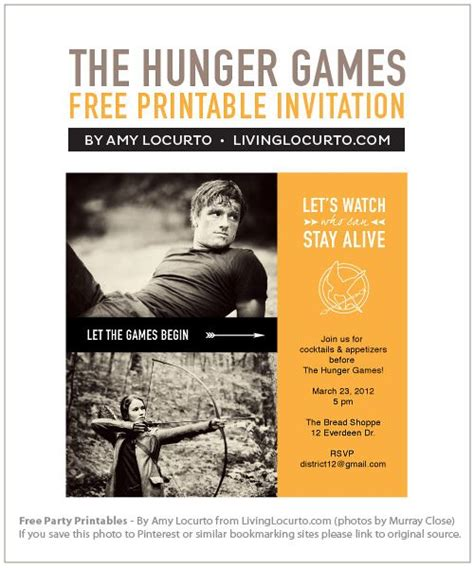printable hunger games birthday invitations the hunger games party free printables party