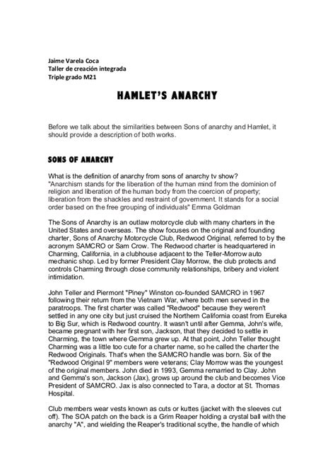 hamlet themes in sons of anarchy hamlet s anarchy