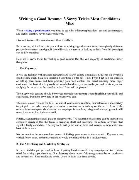 Writing A Great Resume by Write A Great Resume Resume Ideas