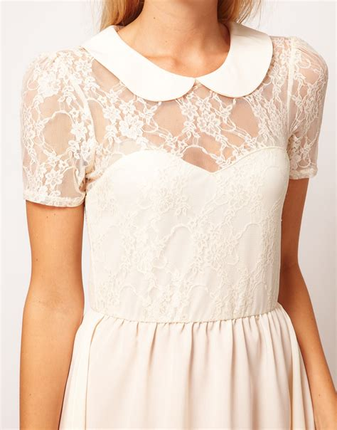 Lace Dress Tosca Blouse asos collection asos lace shirt dress with peterpan collar in lyst