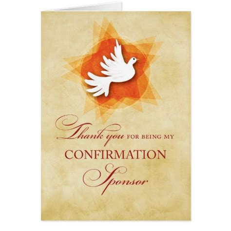 Confirmation Sponsor Thank You Letter Thank You For Being My Confirmation Sponsor Dove Card Zazzle
