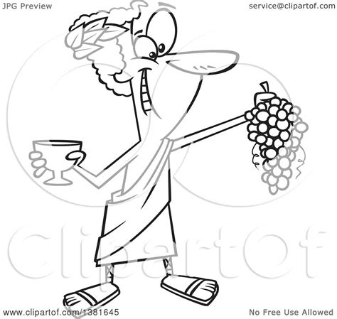 clipart of a cartoon black and white greek god dionysus