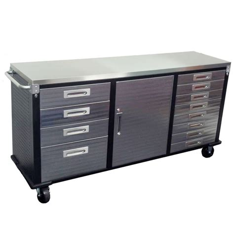 rolling garage storage cabinet 72 inch stainless steel top roll cabinet from just pro tools