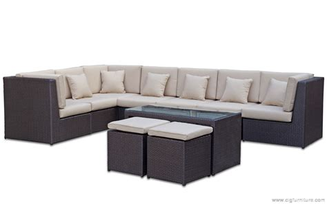 outdoor modular corner lounge suite table ottomans rattan