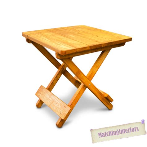 Small Wood Folding Table Teak Finish Wood Side Folding Picnic Cing Table Small Garden Patio Furniture Ebay
