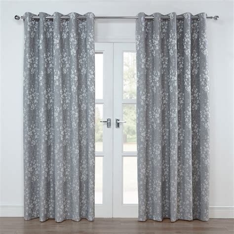 grey silver curtains blossom silver grey floral lined eyelet curtains pair