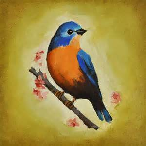 Metal Garden Art Birds - backyard bird paintings 8 x 8 inch betty bluebird