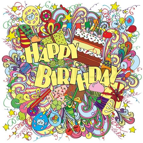 Doodle Souvenir Wisuda Aniversarry Dll happy birthday greeting card on background with celebration elements bright and original