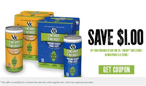 energy drink coupons canadian coupons save 1 on v8 energy drinks printable