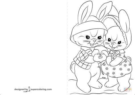 Easter Coloring Cards Printable easter cards with lovely bunnies coloring page free