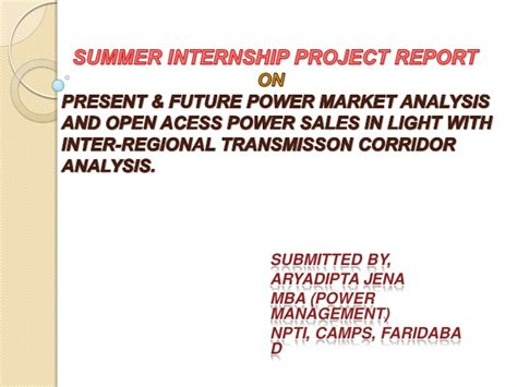 Power Resource Analysis Mba by Present And Future Power Market Analysis