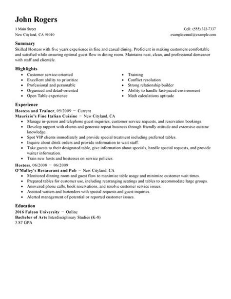 Sle Resume Of Restaurant Hostess Host Hostess Resume Exle Restaurant Bar Sle Resumes Livecareer