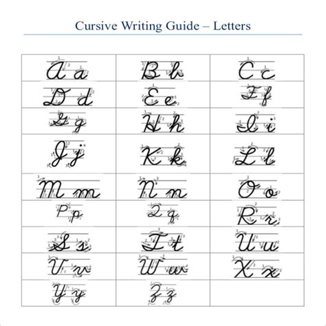 cursive writing template 8 free word pdf documents
