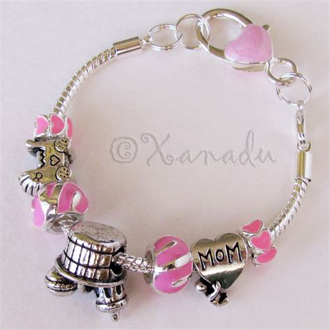 pink baby shower european charm bracelet with