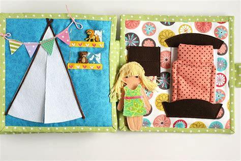 Handmade Busy Book - busy dollhouse book with felt doll for pretend play