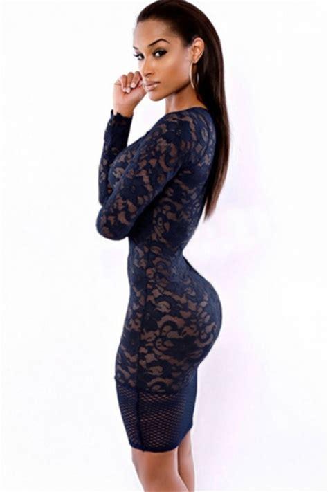 Mini Dress Gaun Import Black Tight Neck Size S 294210 navy blue v neck lace see through clubwear
