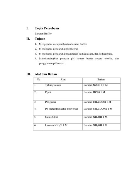 laporan praktikum membuat larutan naoh laporan lengkap praktikum larutan buffer