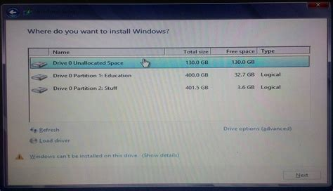 gpt grub format hard drive windows cannot be installed on this disk the